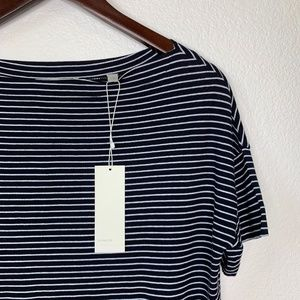 VINCE Striped Boat Neck Short Sleeve Tee NWT